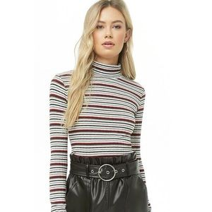 Forever 21 Striped Turtle neck
